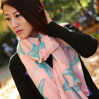 New Clothing Wholesale Fashion Pink Printing Starfish Voile Cotton Long Muffler Shawl Winter Women Charm Gift 185 * 100cm