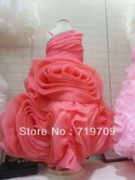 Retail 2013 New Beautiful Ruffled Organza Ball Gown rose red Flower Girl Dress for Weddings Real Sample LK2732