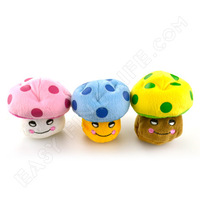 2014 Hot Sale Real Dog Collar Dog Toys 3 Colors Mushroom Style Soft Cotton Toy Sound Squeaker Squeaky Pet Play for Training