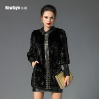 High quality women's slim fight mink hair genuine sheepskin leather down coat clothing medium-long fur d779