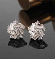 E322 Min.order is $8(mix order) Free Shipping!Christmas Gifts Lucky Windmill Temperament Female Models Small Crystal Earrings!