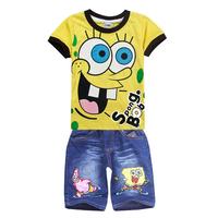 Spongebob children clothing sets,summer boys kids t-shirt jeans suit,baby short shirt pant,sponge bob roupas jeans infantis