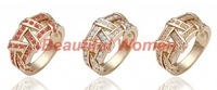 30pcs/lot New Fashion Jewelry Accessories Rose Gold Cross Classic Crystal Ring Free shipping 18603