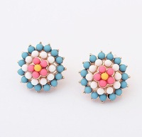 Min. Order $15 (Mix Designs) Free Shipping Factory Outlet Diamante Ice Cream Flower Women Stud Earrings,2 Colors,E177
