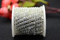 free shipment Diamante 3.7mm Crystal Rhinestone Silver Chain  DIY accessories trim 10 yard