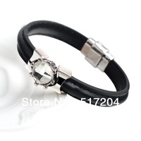 Free shipping arm candy black Real cowhide leather wrap bracelet studded White crystal fashion bracelet men