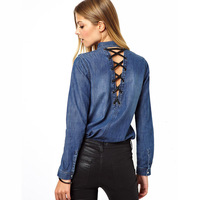 New 2013 Haoduoyi PU rope rivet back deep V-neck cutout water wash denim blue shirt female clothes women