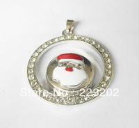 Free Shipping Wholesale 6pcs/lot  Fashion Silver plated two round inlay button Pendant With Rhinestone Necklace  NR20131103