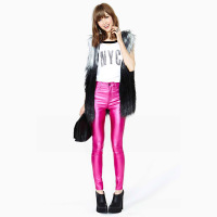 New 2013 Stunning haoduoyi purplish red flash slim elastic women trousers pencil pants tights clothes women