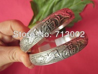 PAIR OF TIBETAN SILVER BRACELET LUCKY BANGLE - Lotus Flower