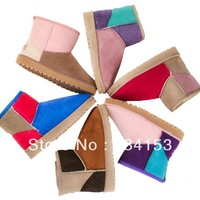 New 2013 Color matching patchwork snow boots women's winter boots fashion Short boots