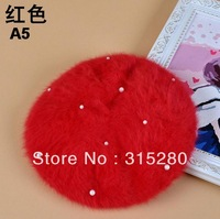 Lady winter fashionable thicken warm pearl angora knitted beret hats