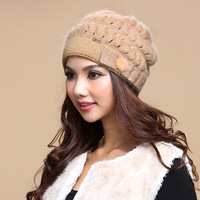 Women's autumn and winter wool knitted hat cap quinquagenarian hat double layer thickening