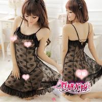 Black princess sexy silk sleepwear autumn and winter women's temptation underwear transparent nightgown twinset