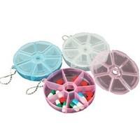 New Arrival Wholesale 50pcs/lot 7 Day Week Portable Organizer Pill Round Box 7 Slot Travel Health Pill Box Case Medicine Drug