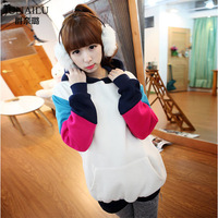 Autumn women's spring and autumn thickening fleece with a hood color block long-sleeve pullover sweatshirt