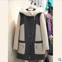 2013 winter new Korean Shopping stitching hooded woolen jacket Slim wool coat ladies thick