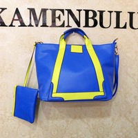 2013 spring and summer the trend of fashion color block handbag shoulder bag messenger bag coin purse neon female bags