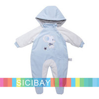 Baby Winter Clothing Set Blue Rompers Warm Cute Wear,Removable Hat,Free Shipping  K3761