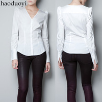Haoduoyi new 2013 christmas deep V-neck shoulder width cuff white nylon elastic long-sleeve shirt women blouse shirt women