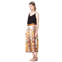 Haoduoyi luxury silk scarf print scarf print skorts loose skirt long satin chiffon pants