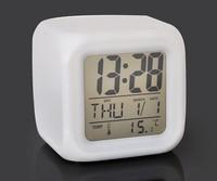 free shipping 10pcs/lot Glowing Led Color Change Digital Alarm Clock calendar time temperature alarm clock decompression clock
