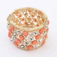 Luxe Full Rhinestone & Faux Stone Stretch Bangle New Fashion Jewelry cxt900480