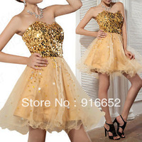 High Quality New Arrival Golden Sequined Mini Ball Gown Tiered Lace Women's Party&Evening Dresses With Promotional Price