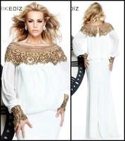 White Fashion New Elegant Jewel Beaded Chiffon Full Sleeves Mermaid Long Formal Evening Prom Dresses Custom Made 2014