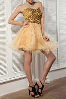 3 Clors Bling High Quality New Gold Sequined Mini Ball Gown Tiered Lace Women's Party&Evening Dresses With Competitive Price