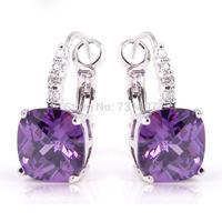 Goodly Elegant Amethyst  Dangle Hook Silver Stone Earring Fashion Jewelry Wholesale Free Shipping