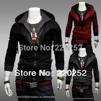 New Assassin's Creed male spring coat,ASSASSINS CREED CUSTUM COSTUME Men's Hooded Cardigan Fleece ,Slim outwear jacket