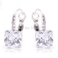 Wholesale Romantic  Noble White Topaz Dangle Hook Silver Earring Fashion Stone Jewelry  Free Shipping