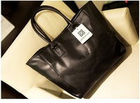 Free Shipping Women Black PU  leather handbag  lady shoulder bag Hot sales