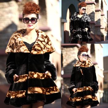 Free Shipping 2013 Women faux Mink fur overcoat fur coat medium-long ruffle faux overcoat marten velvet