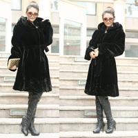 Free Shipping 2013 Women faux Mink fur overcoat Winter fur coat marten velvet imitation mink overcoat thermal medium-long hooded