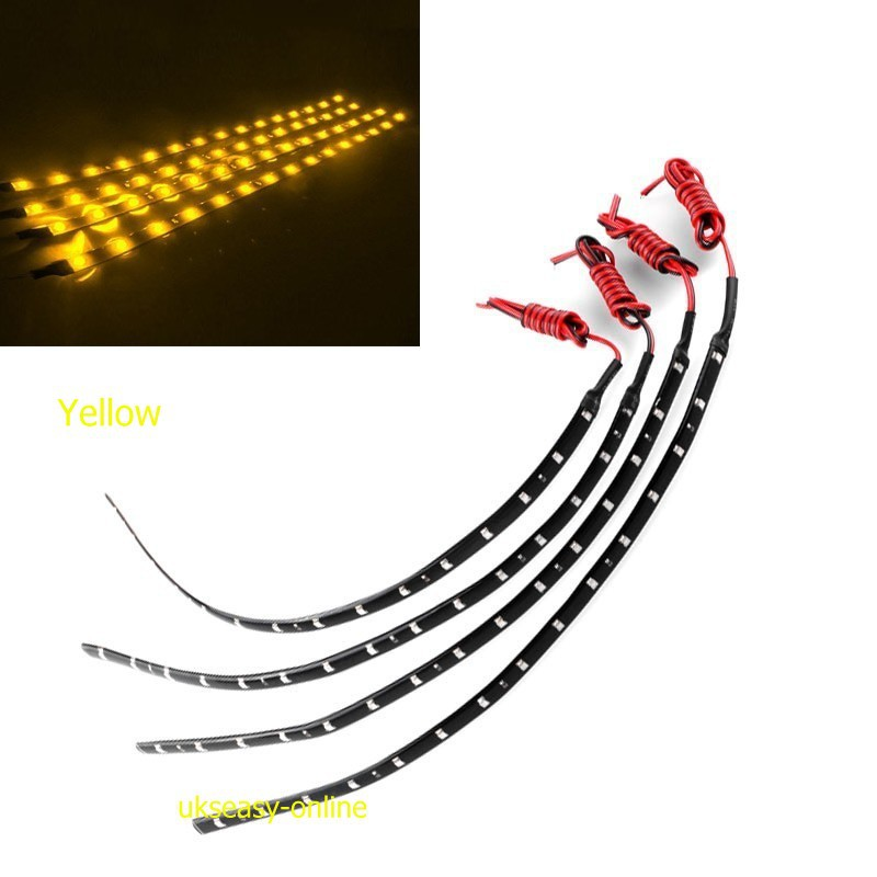 4Pcs 15SMD3528 Yellow color LED Light Strip Waterproof Cuttable For Motorcycle Car Decoration(China (Mainland))