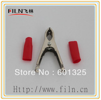100pcs x Free Shipping 30A 75mm red iron plated nickel crocodile clips