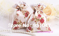 50 Wedding Party Candy 50 Pouch Bags with Drawstring Gift Jewelry Favor BEIGE Contryside Style Flowers Free Shipping Wholesale
