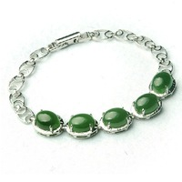 Hand catenary natural jade hetian jade 925 silver inlaid 18 cm long chain
