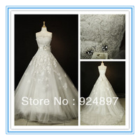 Stunning Strapless A-line Fashion Applique Wedding Dresses 2013(WDSB-1055)