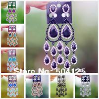 min.mix order is $10-- Crystal diamante teardrop drop dangle earrings chunky chandelier statement huge wedding