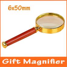 6 x 50 mm bolsillo de regalo para niños recta vidrio de lectura lupa de mano ojo ayuda herramienta lupa de la con marco de oro para lectura
