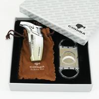 COHIBA Grey White Woodpecker Jet Frame Cigarette Cigar Lighter with Cutter Set