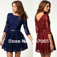 Free Shipping Sunflower Dimensional Embroidery Lace Dress,Long Sleeve Women Dress ,Ladies Dress (with belt)  3 color Size S, M,L