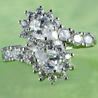 wholesale Flower Big Jewelry Clear Crystal Silver Plated Ring Women Pear & Round Cut Clear White Sapphire Size 10 Party Wedding