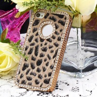 1pcs Plastic Leather Luxury Bling Crystal Rhinestones Leopard Case Cover for iPhone 4 4S Hot New