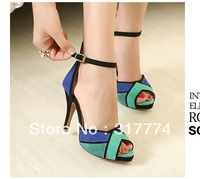Fashion sheepskin 2013 color block high heel sandals platform thin heels open toe women's shoes decoration