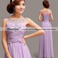2014 New Arrival In Stock Straight Scoop Floor-Length Criss-Cross Chiffon Evening Dress With Diamond Prom Dress HoozGee 6101