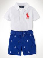 Trendy boy clothes/2-piece set: short-sleeved shirt with turn-down collar+blue short pants/Branded sports baby clothes